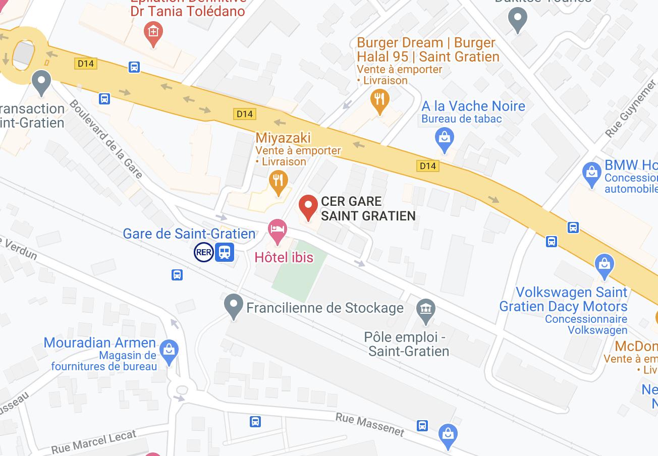 Plan d'accès CER Gare de Saint-Gratien